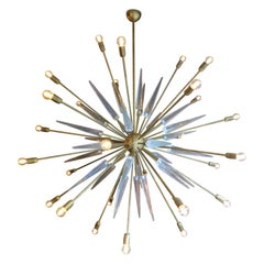 Very Large Italian Brass and Glass Sputnik Chandelier