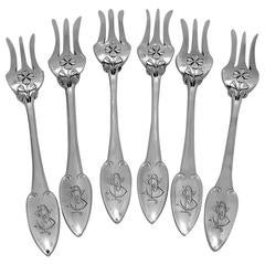 Puiforcat Rare French Sterling Silver Dessert Cake Forks 6 pc, Clovers