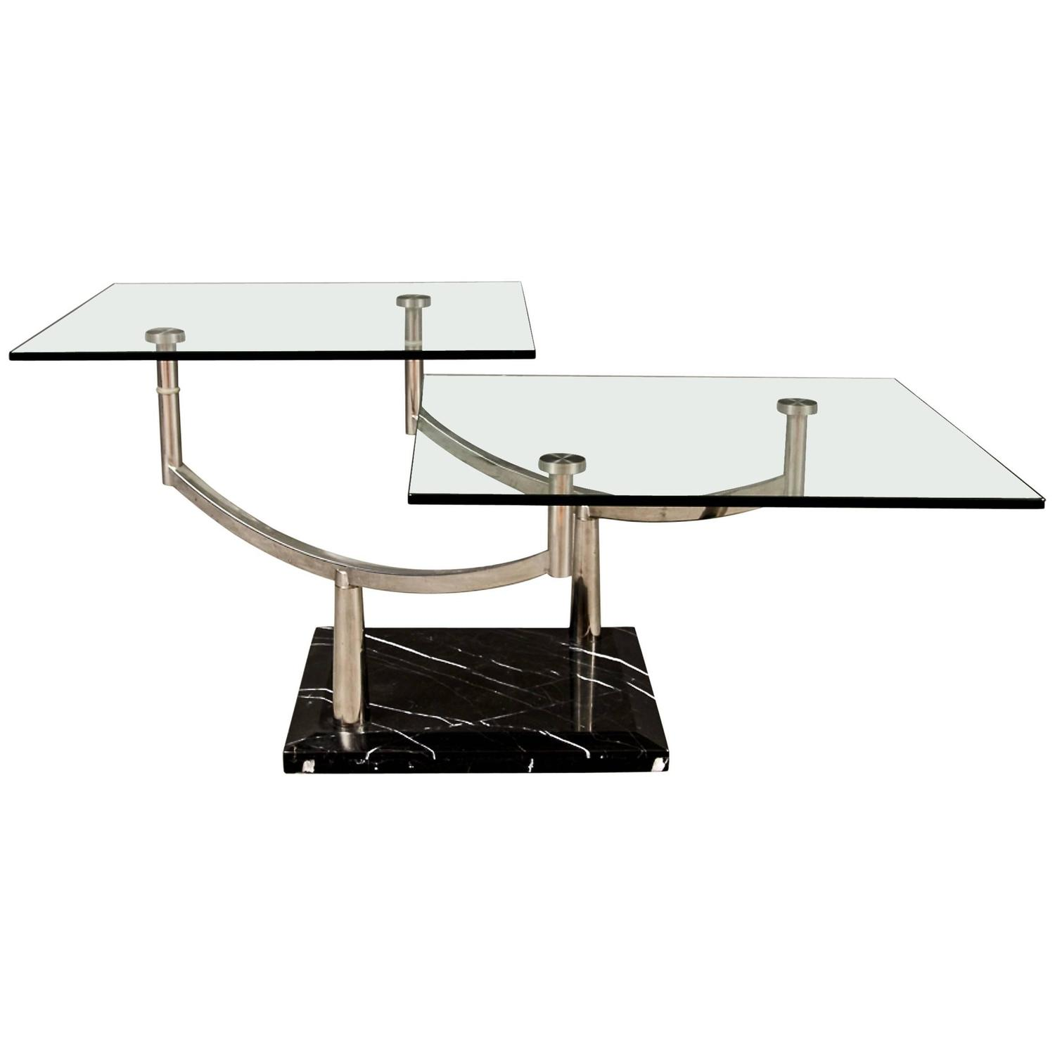 Chrome X Frame Coffee Table: Two-Level Glass Coffee Table With Chrome Frame On Marble