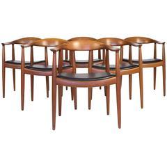 Hans J. Wegner, a Set of Six Teak 'The Chair' Armchairs for Johannes Hansen
