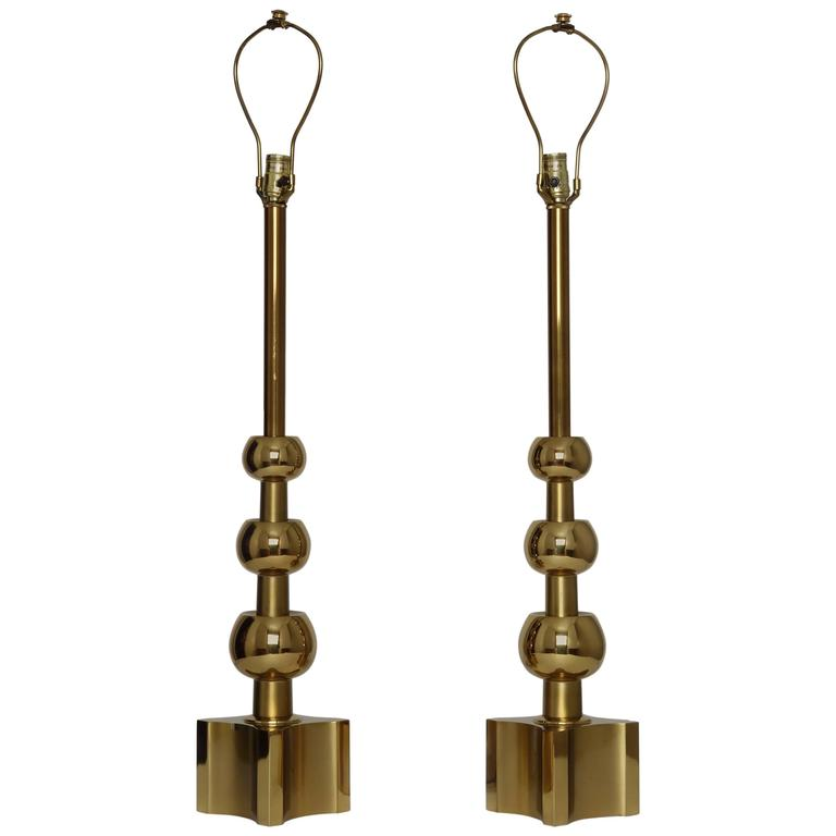 Pair of Brass Table Lamps by Stiffel