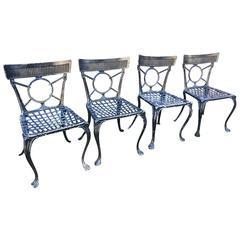 16 French Cast Aluminium Klismos-Style Garden Chairs