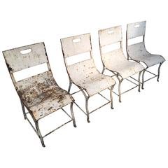 Set of Four French Painted Steel Garden Chairs