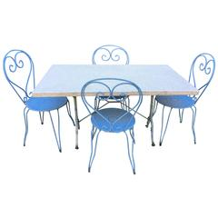 French Terrazzo-Topped Garden Dining Set for Four, Signed Godin
