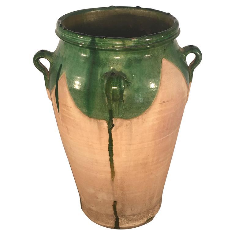 French Green-Glazed Terracotta Amphora or Pot