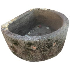 19th Century French Carved Stone Demilune Trough