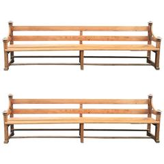 Very Long Pair of French Pine Church Pews/Benches