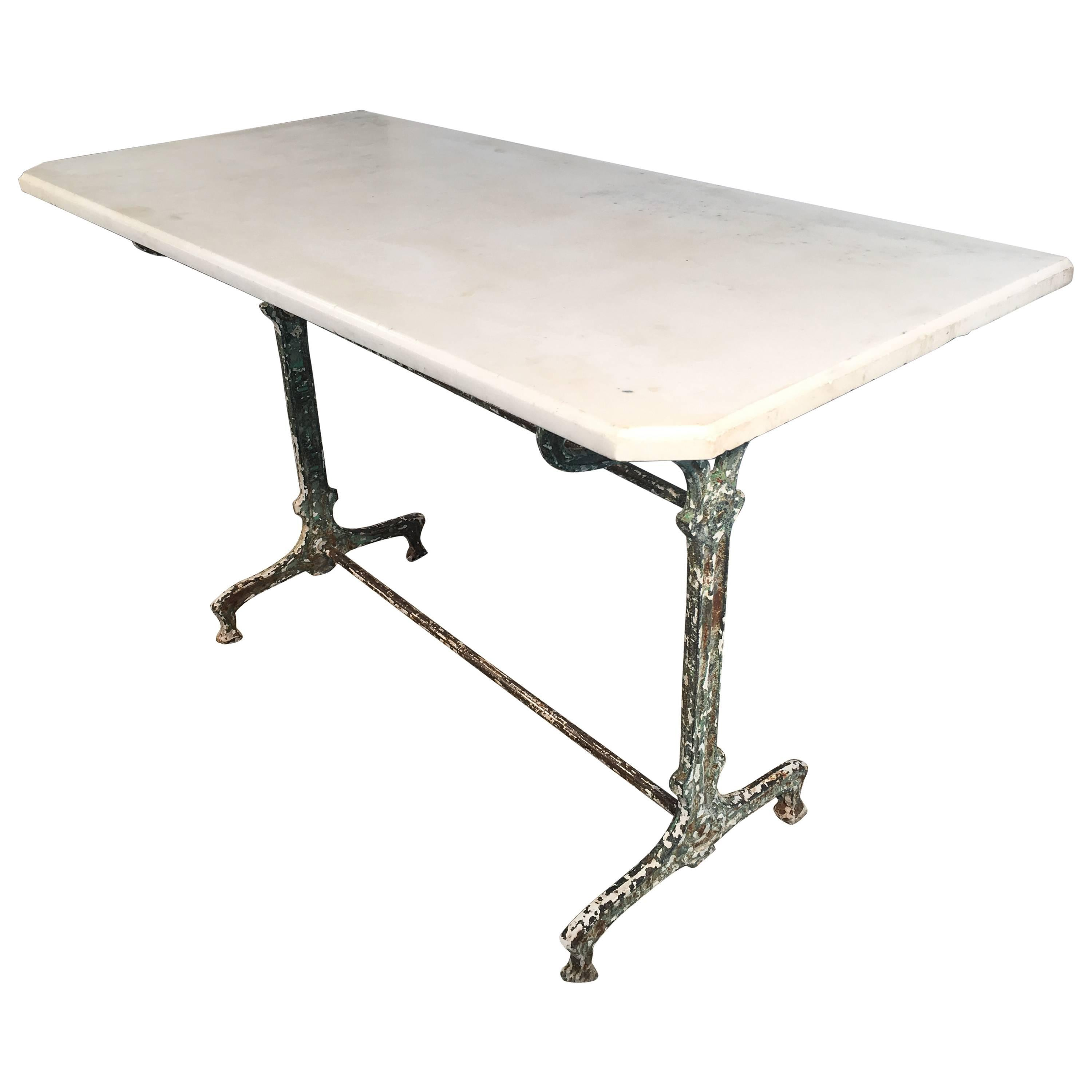 French Art Nouveau Cast Iron Table with Antique Marble Top