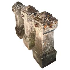 Magnificent Set of Three 18th Century Limestone Entrance Pillars with Chains