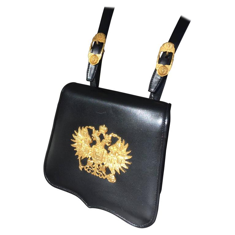 Black Christopher Ross Handbag With Imperial Russian Crest