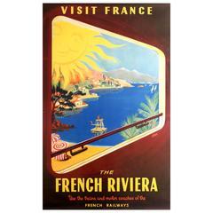 Original Vintage Sncf Travel Advertising Poster, Visit France the French Riviera