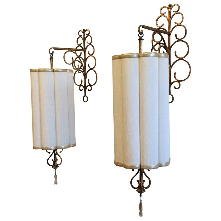 Decorative Italian Gilded Iron Wall Lamps Scones with Shades For Sale at 1stdibs