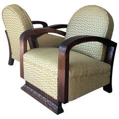Pair of Mid-Century Armchairs Art Deco Style