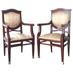 19th Century Regency Pair of Armchairs in Mahogany Influenced Art Deco Style