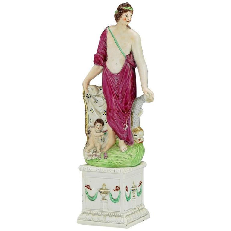 Pearlware Figure of Aphrodite & Eros, 'Venus and Cupid' Figure