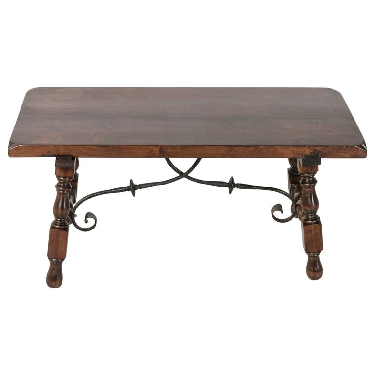 Spanish Renaissance Style Coffee Table Or Bench With Hand Forged Iron