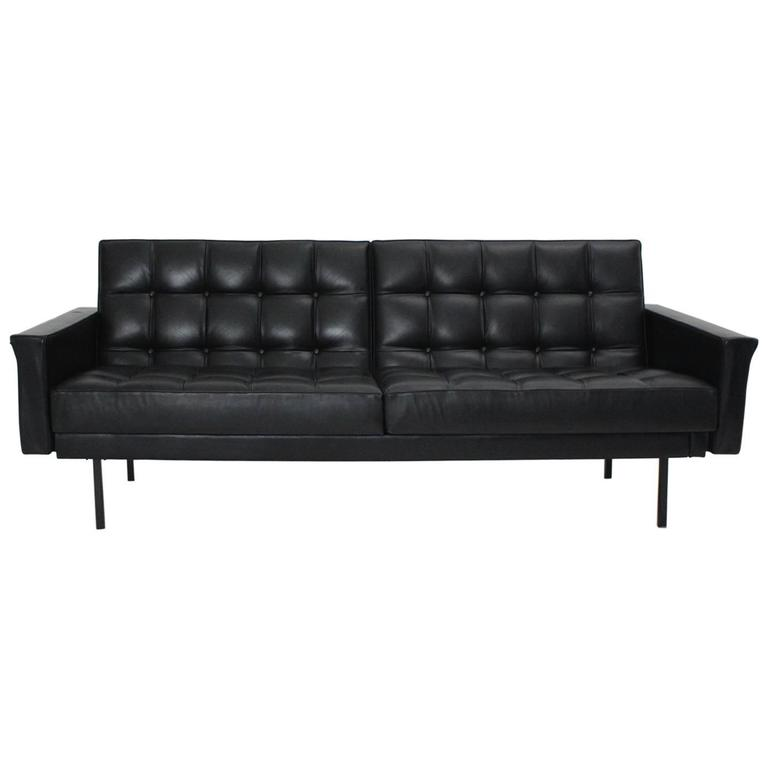 Beau Mid Century Modern Black Vintage Leather Sofa By Johannes Spalt Vienna C  1960