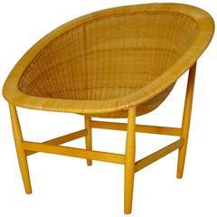 Beautiful Wicker Basket Lounge Chair by Nanna Ditzel