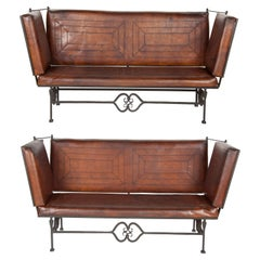 Pair of Early 20th Century Leather Knoll Form Sofa