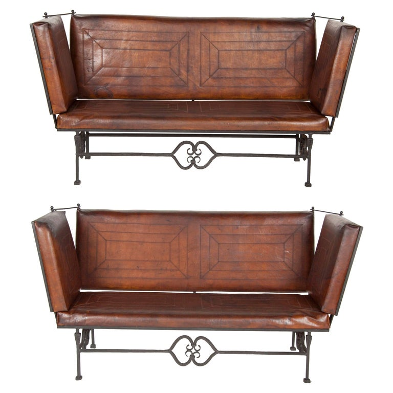 Pair of Early 20th Century Leather Knoll Form Sofa For Sale