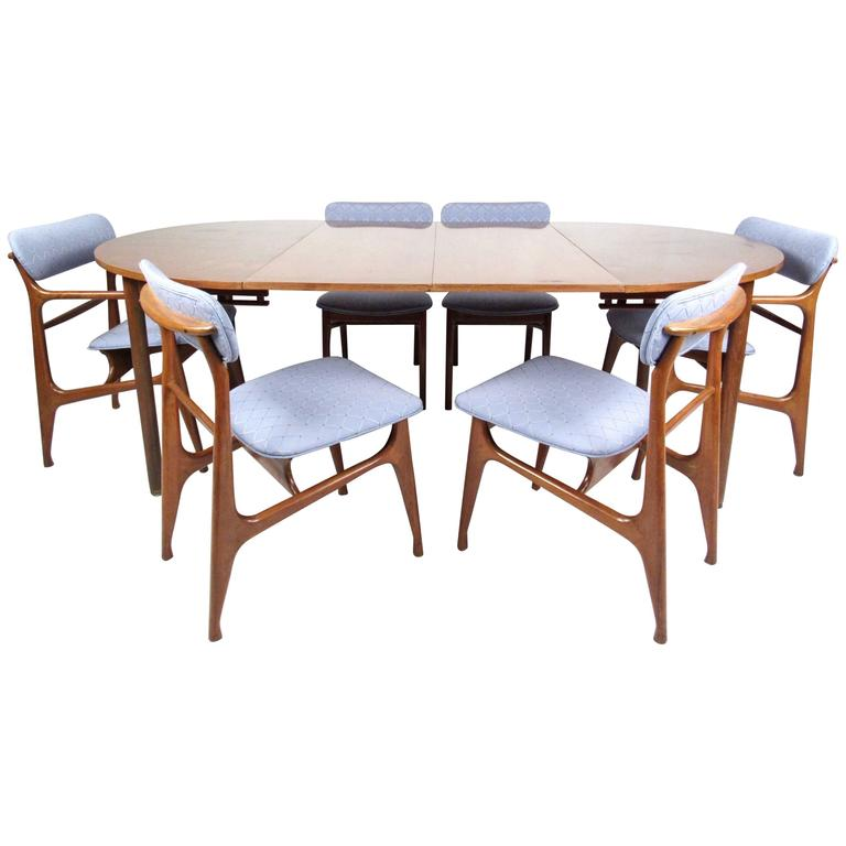 Mid Century Modern Sculptural Italian Walnut Dining Set For Sale At 1stdibs