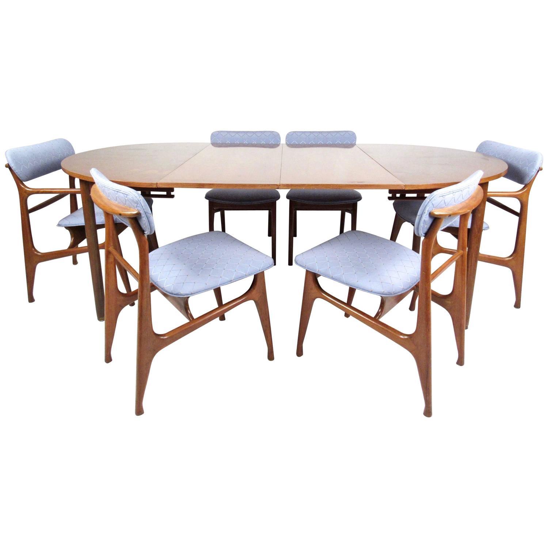 Mid Century Dining Room Sets: Mid-Century Modern Sculptural Italian Walnut Dining Set