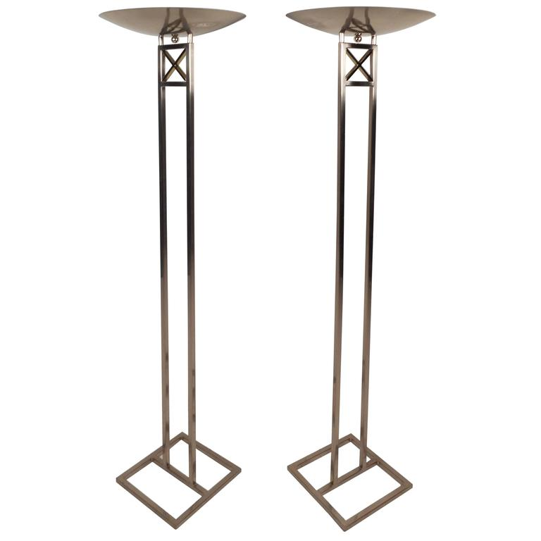 Mid-Century Modern Chrome Torchiere Floor Lamps