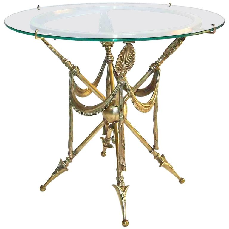 French Arrow Swag Neoclassic Brass End or Side Table