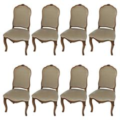 Set of Eight Italian Louis XV Style Dining Chairs