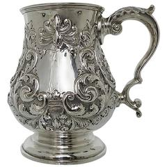 Late 19th Century Sterling Silver Pint Mug by Walker & Hall, Sheffeild