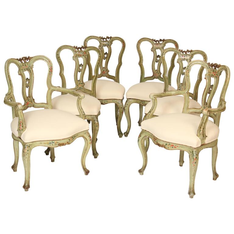 this set of six painted italian dining room chairs is no longer