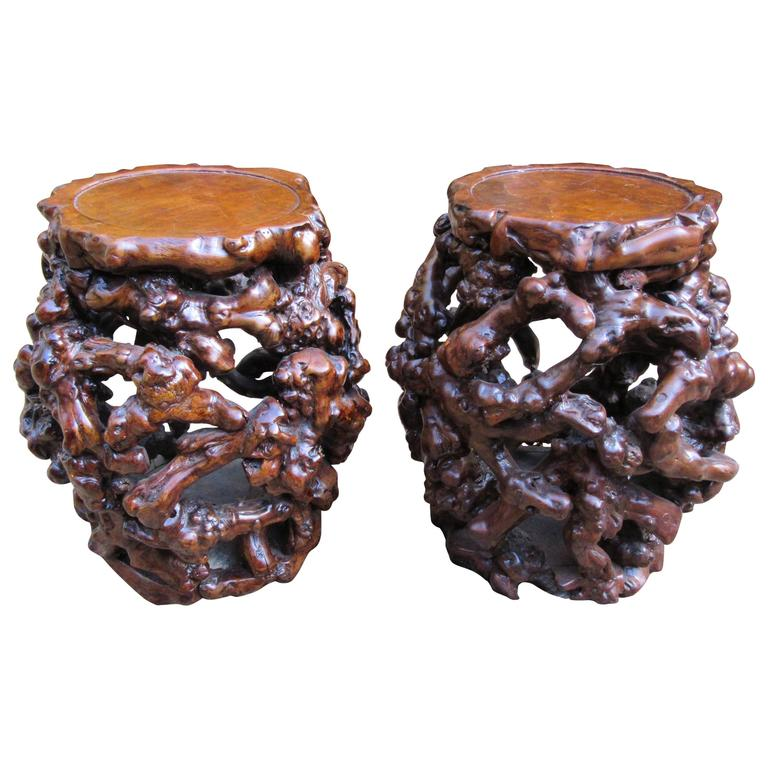 Rare Pair Of Chinese Root Stools Or Tables Early 20th