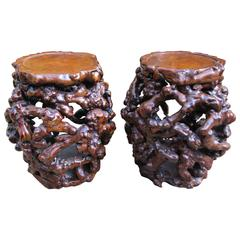 Rare Pair of Chinese Root Stools or Tables, Early 20th Century