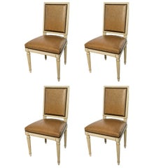 Set of Four Square Back Louis XVI Dining Chairs Covered in a Tan Leather