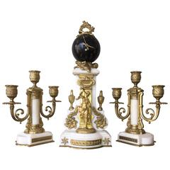 French Figural Clock Set Carrera Marble and Gilt Bronze Diminutive, circa 1900