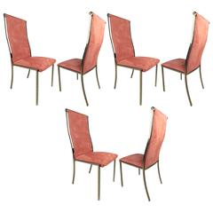 Set of Six Highback Brass Dining Chairs