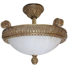 Giltwood Alabaster Pendant Ceiling Light