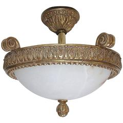 Giltwood Alabaster Pendant Ceiling Light
