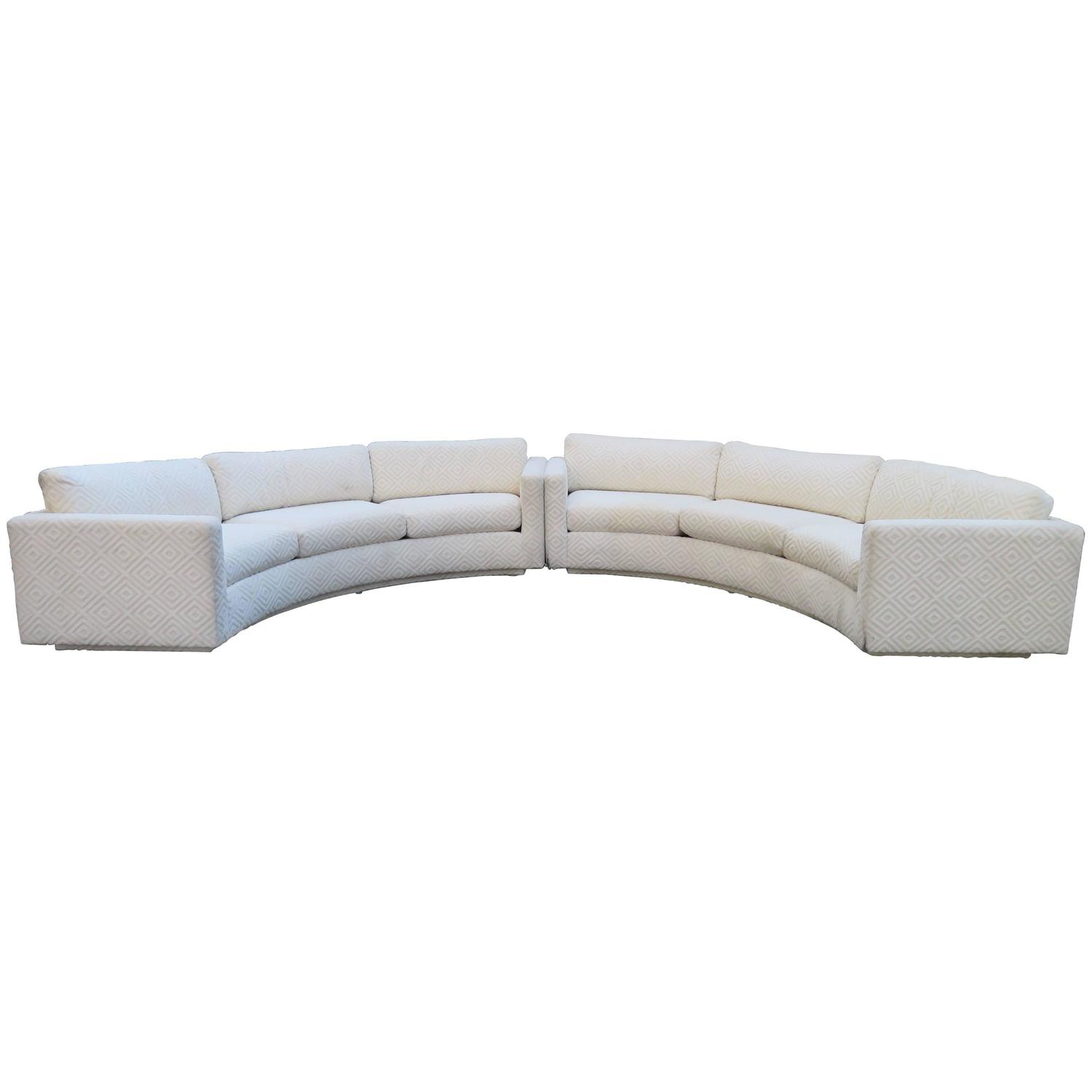 Fabulous two piece milo baughman circular sectional sofa for 2 piece curved sectional sofa