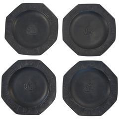 Set of Four 19th Century Basalt Wedgwood Plates
