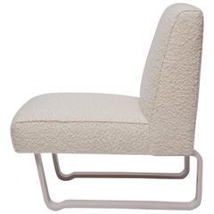 "Rare Edward Wormley ""Modern Morris"" Bleached Mahogany Slipper Chair"