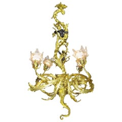 French Belle Époque Gilt Bronze Four-Light Whimsical Chandelier