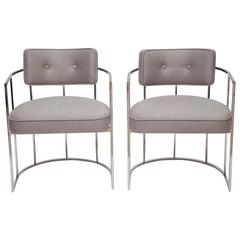 Handsome Nickeled Thin Frame Barrel Chairs