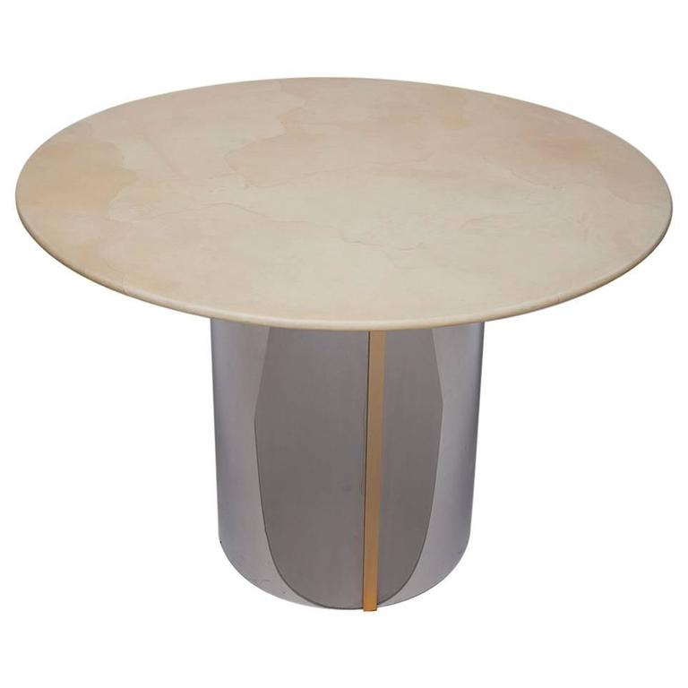 1970's Parchment Center Table in the Manner of Karl Springer
