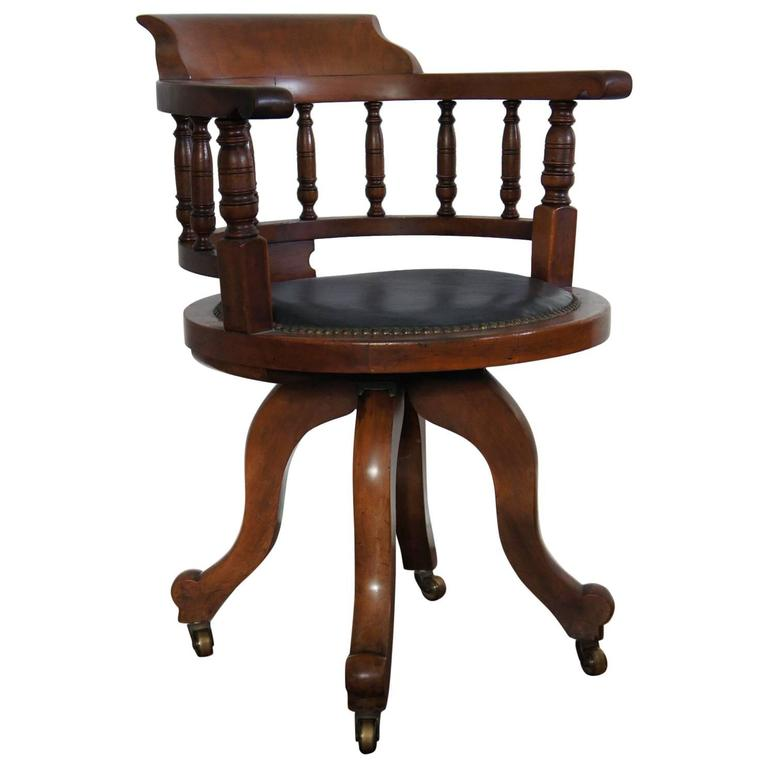 Antique Victorian Walnut Captain's Chair Desk Chair with Leather Seat For  Sale - Antique Victorian Walnut Captain's Chair Desk Chair With Leather