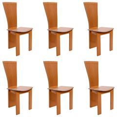Set of Six Memphis Style Italian Chairs in Maple and Leather, Pietro Costantini