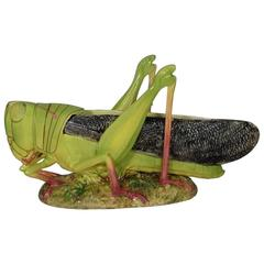 Monumental Majolica Grasshopper Jardiniere Massier, Circa 1890
