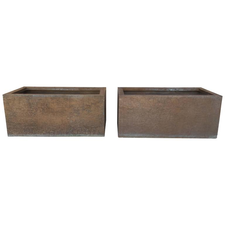 Pair of Large Rectangular Bronze Planters by Forms and Surfaces, 1970s