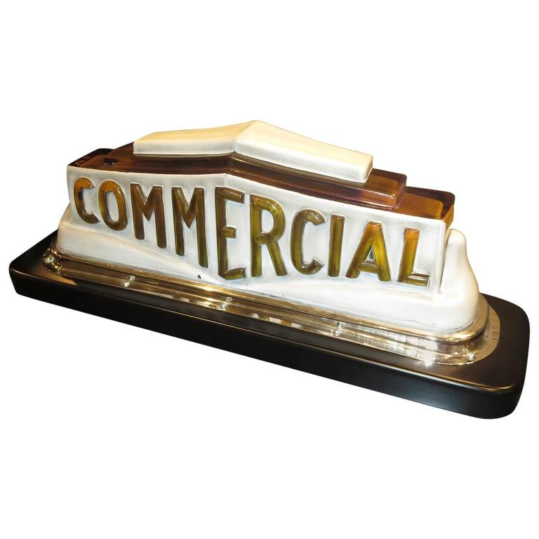 Art Deco Taxi Cab Lighted Sign in Molded Glass For Sale