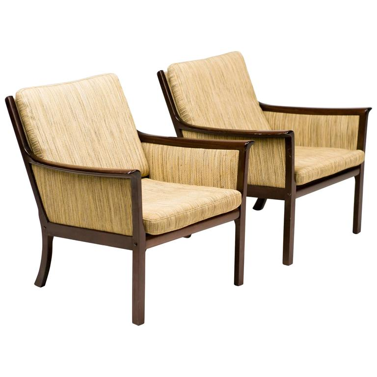 Ole Wanscher Pair of Lounge Chairs in Mahogany For Sale